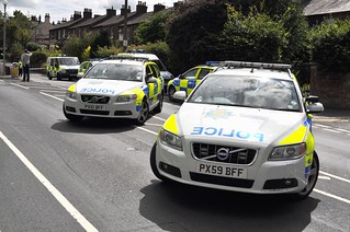 Some of the Cumbria Police vehicles, at the hit-n-run crime scene, on London Road, Carlisle.