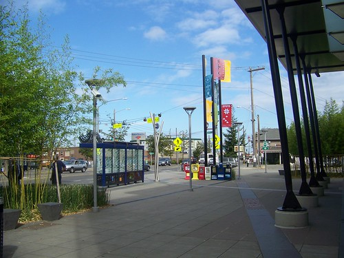 Public art and bus shelter,  Beacon Hill Station, Sound Transit light rail