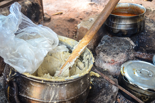 Cooking banku in Ghana