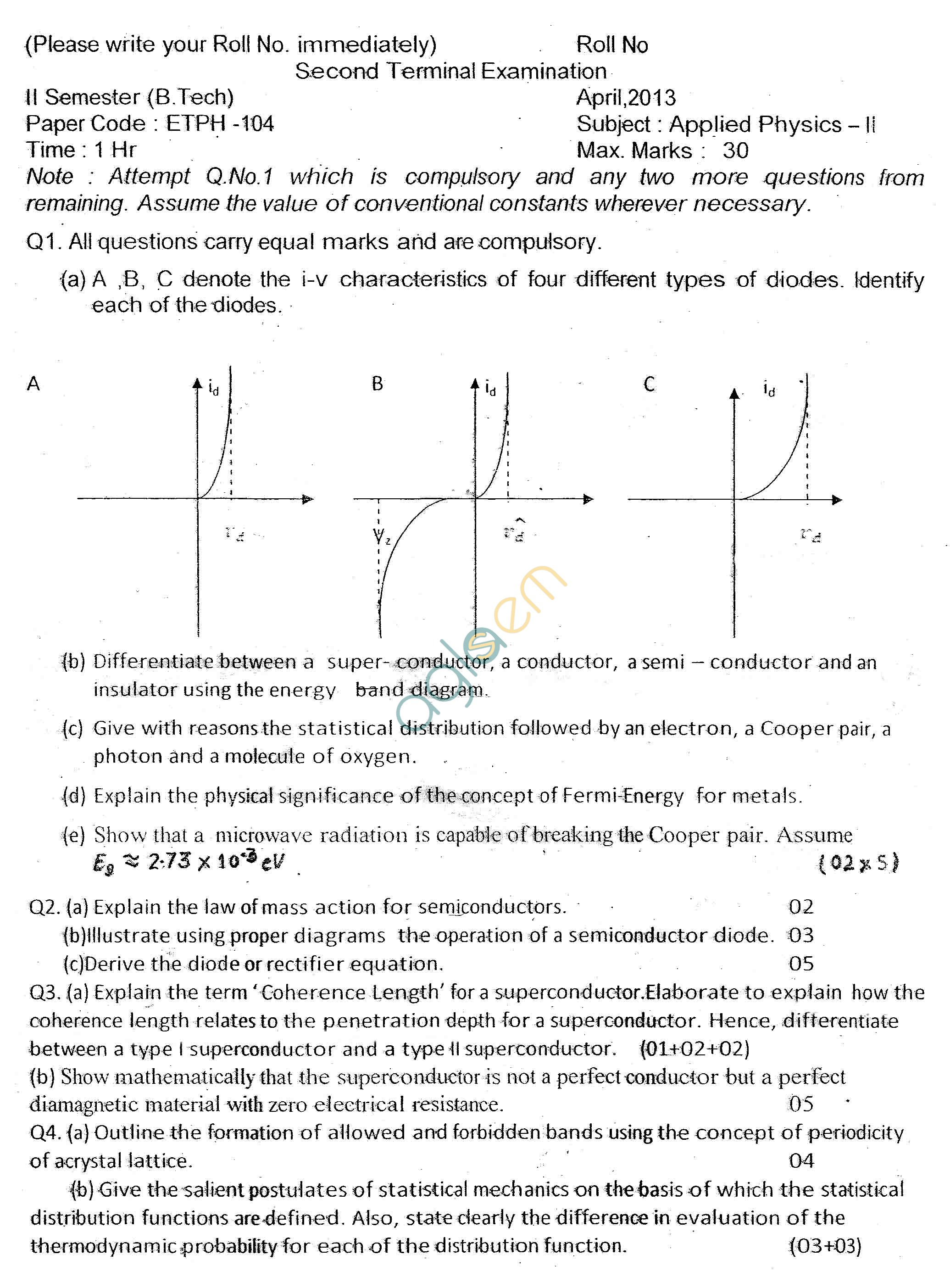 GGSIPU Question Papers Second Semester – Second Term 2013 – ETPH-104