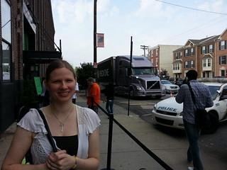 Christina and the Xbox One truck as we wait to get into the event.