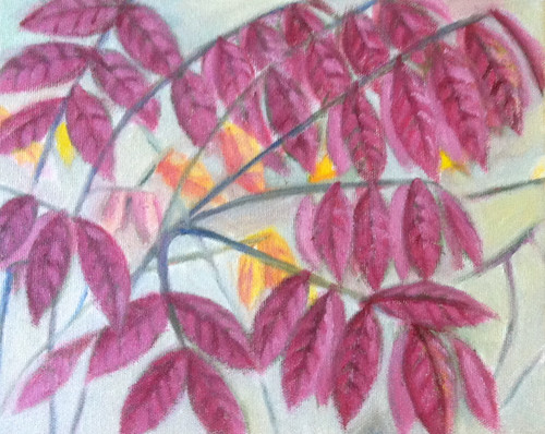 Red Leaves (Oil Bar Painting as of October 8) by randubnick