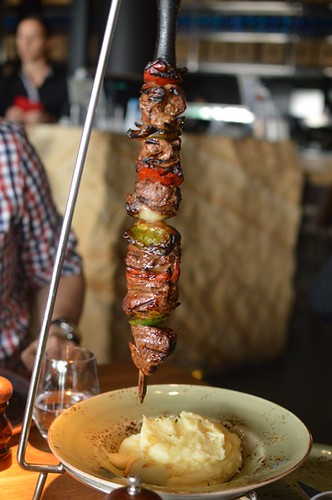 Flame-grilled beef fillet skewers with mash