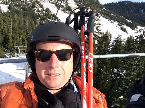 Selfie in the ski lift up Black Mountain (at Cypress Mountain Ski Resort, November 24, 2013)