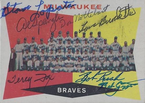 1960 Topps - Milwaukee Braves Team Baseball Card #381 / Autographed by - Stan Lopata, Al Spangler, Don Nottebart, Lou Burdette, Terry Fox, Bob Rush & Bob Giggie