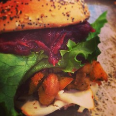 Our new special sandwich - available Friday. Turkey, lettuce, and house made cranberry sauce and bagel stuffing!