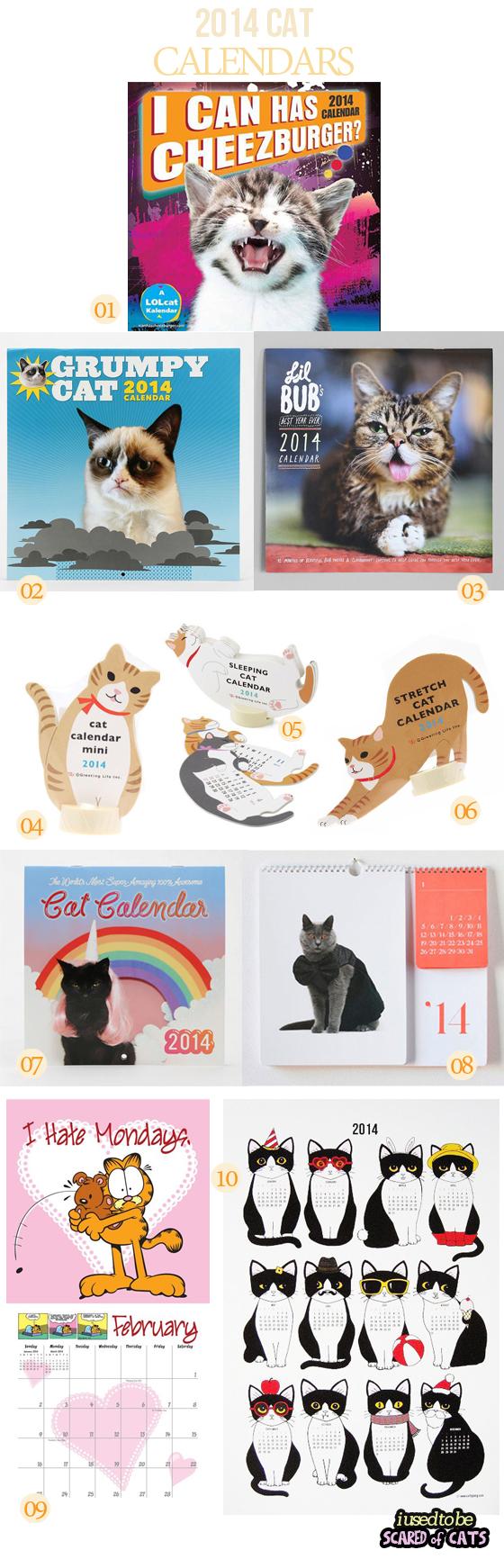 top 10 Cat Calendars 2014