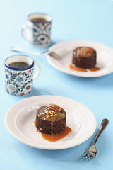 Pecan Brownies with Caramel Sauce