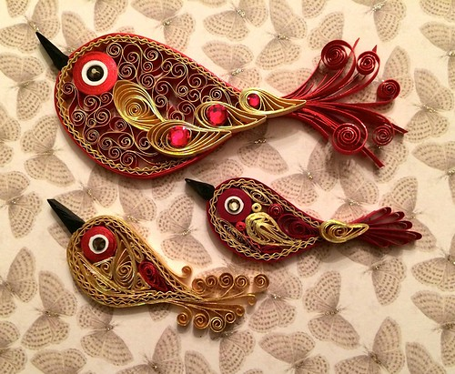 red and gold quilled bird tree ornaments