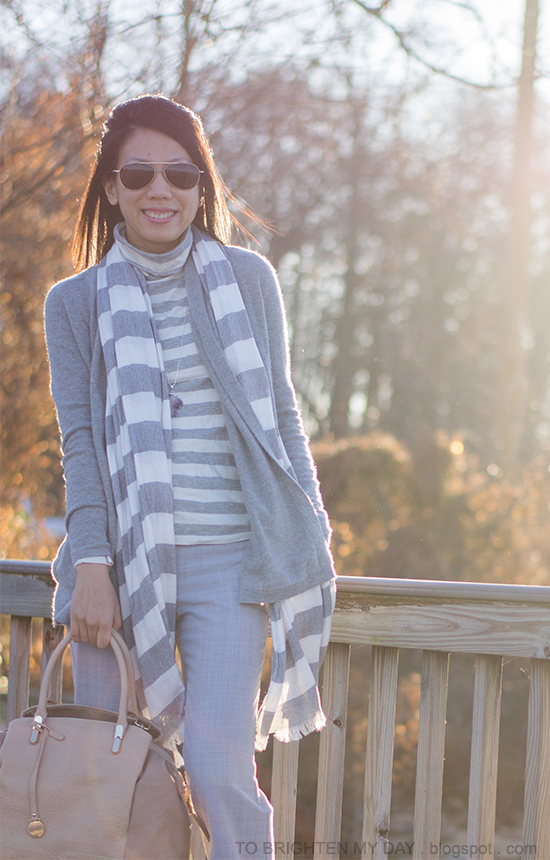 gray open cardigan, striped scarf, striped turtleneck