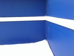 Blue corner, with white trim and snow
