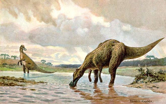 4. Hadrosaurios. Ilustración de Heinrich Harder (1858-1935)