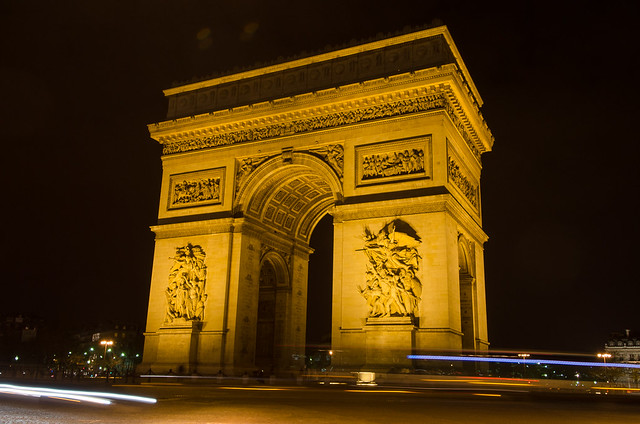 The Arc de Triomphe at night