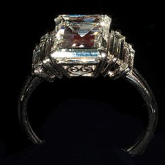 Square Cut Diamond & Platinum Engagment Ring