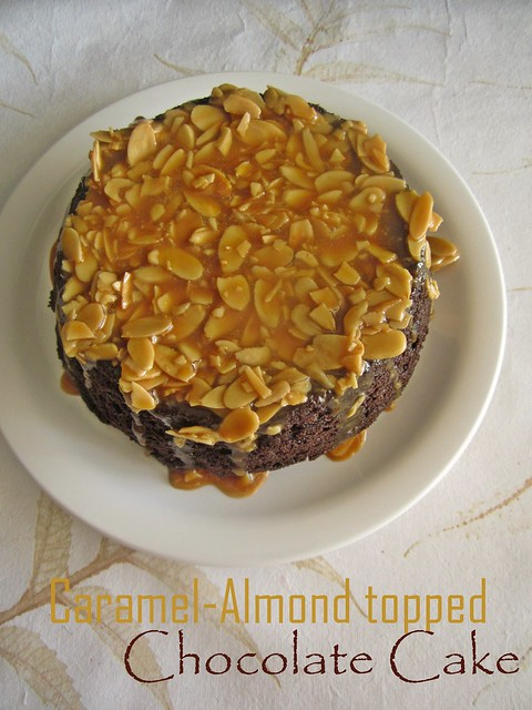Caramel-Almond topped Chocolate Cake