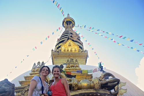 Lina and Olga in front of Monkey Temple