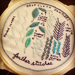 Loved this one, finally feel I've got the hang of feather stitches thanks @dropcloth #dropclothsamplers #embroidery #featherstitches