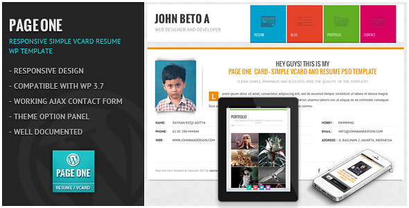 PageOne Resume Wordpress Theme