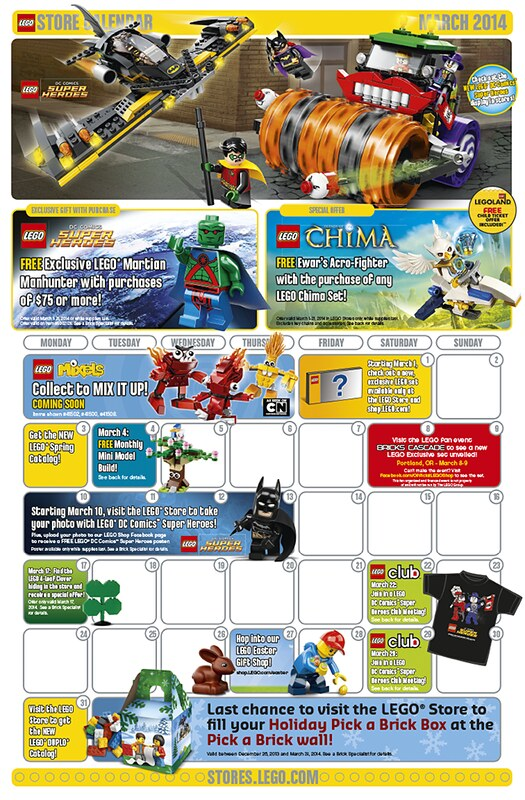 LEGO Shop March 2014 Calendar