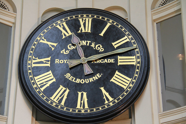 Gaunt and Co Clock at the Royal Arcade