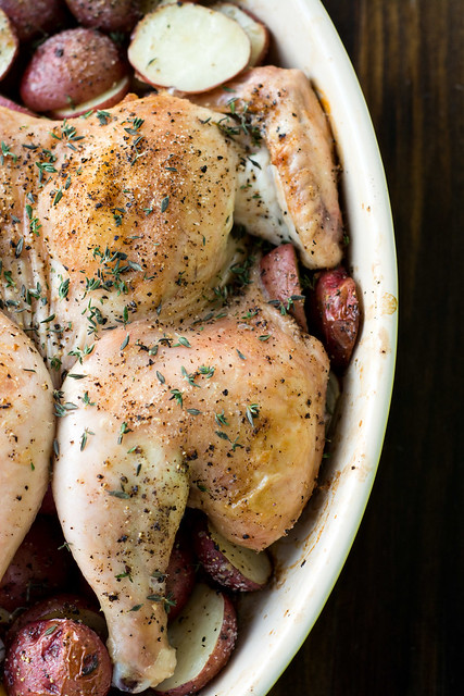 Spatchcocked Roasted Chicken with Lemon and Thyme