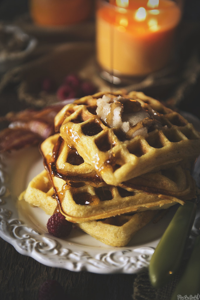 Cornmeal Buttermilk Waffles with Honey Butter