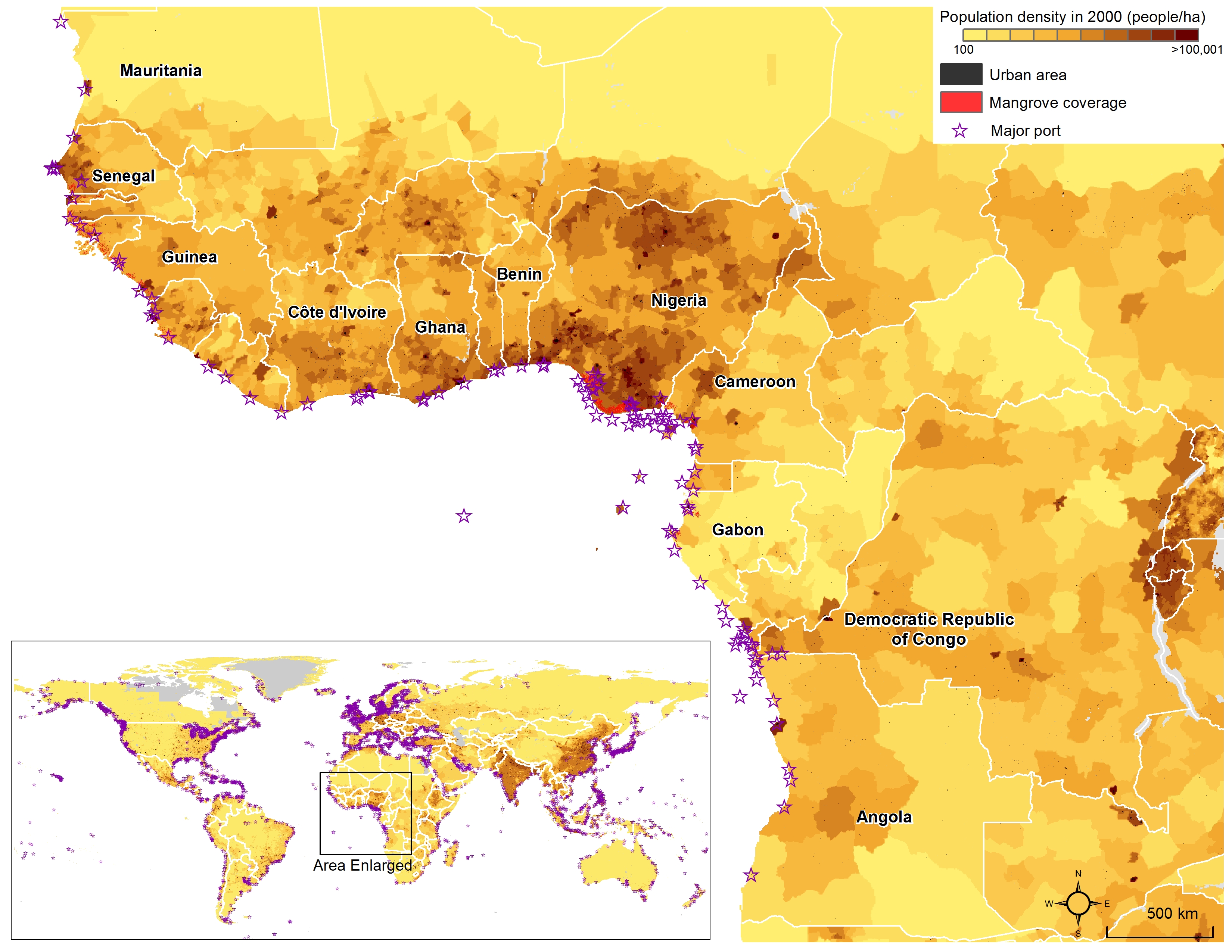 Population Distribution Africa Population Map.Population Density In West Central And Southern Africa