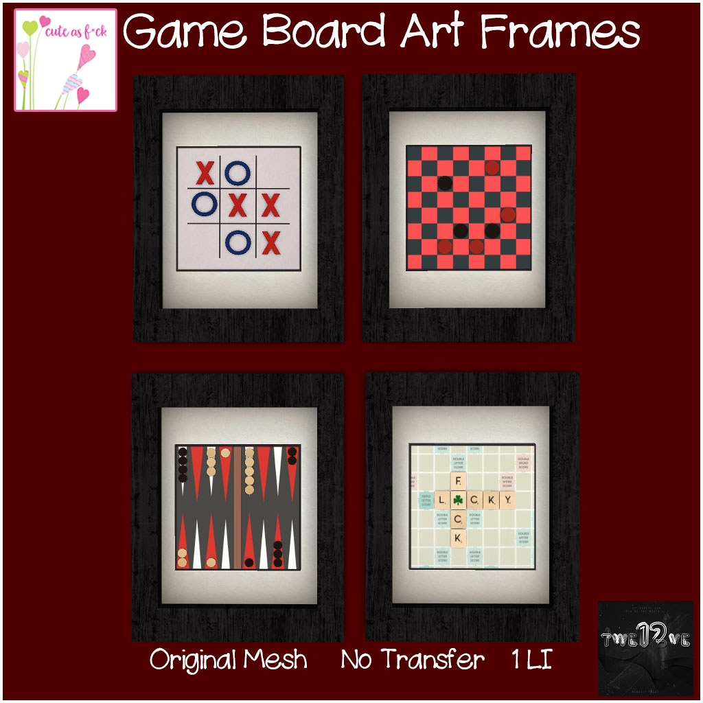 EXCLUSIVE ::cute as f*ck:: Game Board Art Frames @ TWE12VE - SecondLifeHub.com