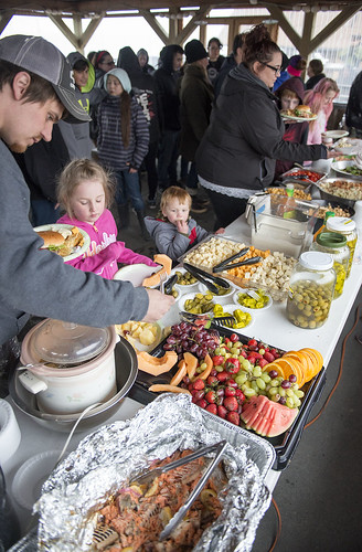 A banquet full of food options was available during the potluck.