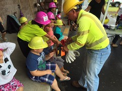Hawaii Electric Light visits Kamehameha Schools Hilo Preschool - April 12, 2017: Trying on protective equipment that our crews use on the job