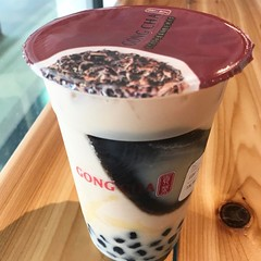 Since it's next door to Mango Mango, gonna give Gong Cha a try too. Got the Earl Grey Milk Tea with 3J's ( Pearl, Pudding & Herbal Jelly) #milktea
