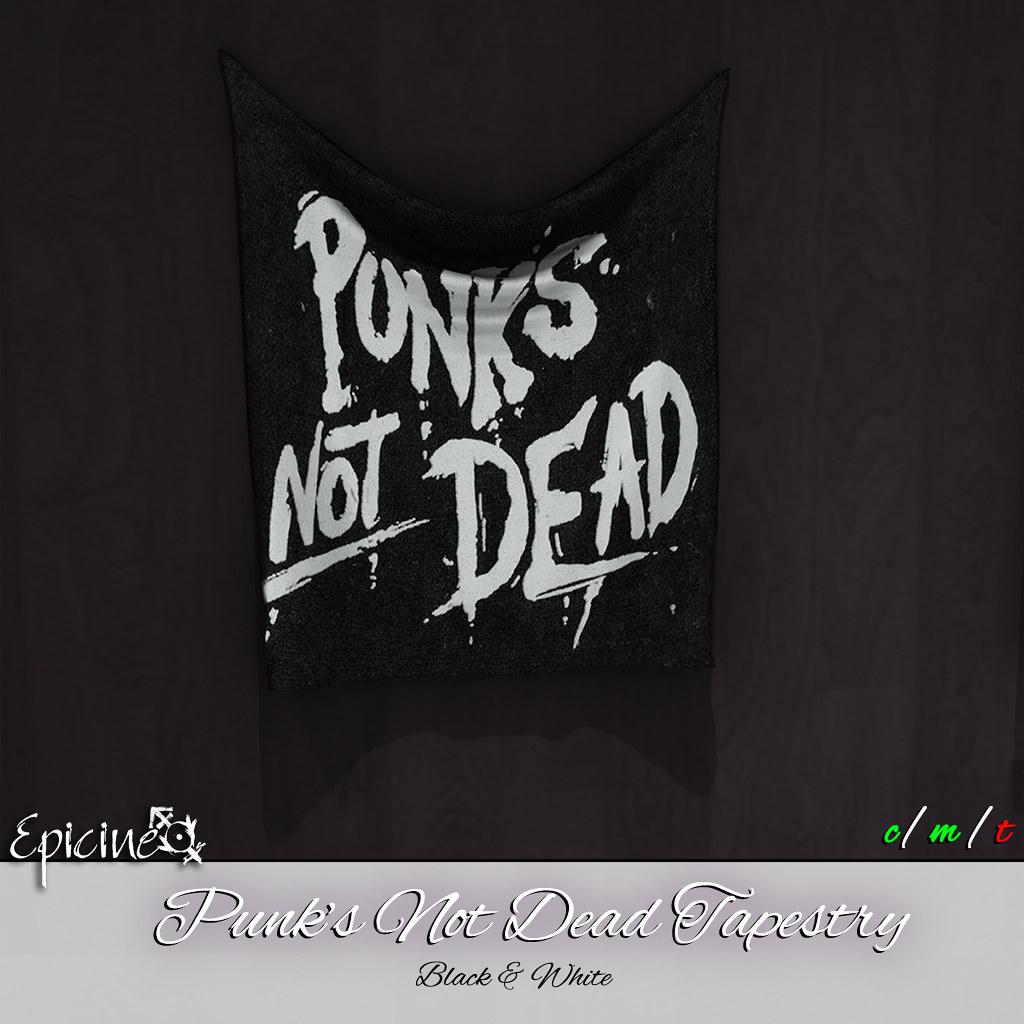 Epicine - Punks Not Dead Tapestry [Black & White] - SecondLifeHub.com
