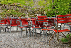 Red Chairs waiting for Guests