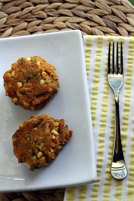 Quinoa Patties with Corn, Zucchini and Feta