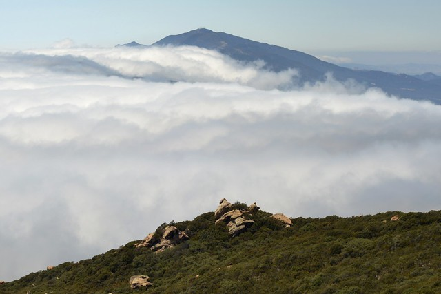 """""""June Gloom"""" marine layer clouds rolling over San Marcos Pass - our house is 1,000 feet down!"""