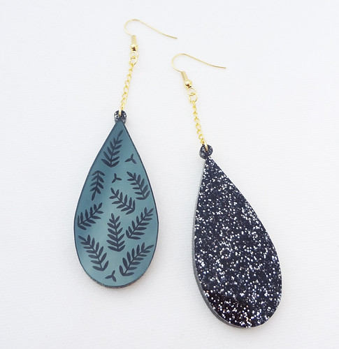 Black Mirror Leaf Earrings