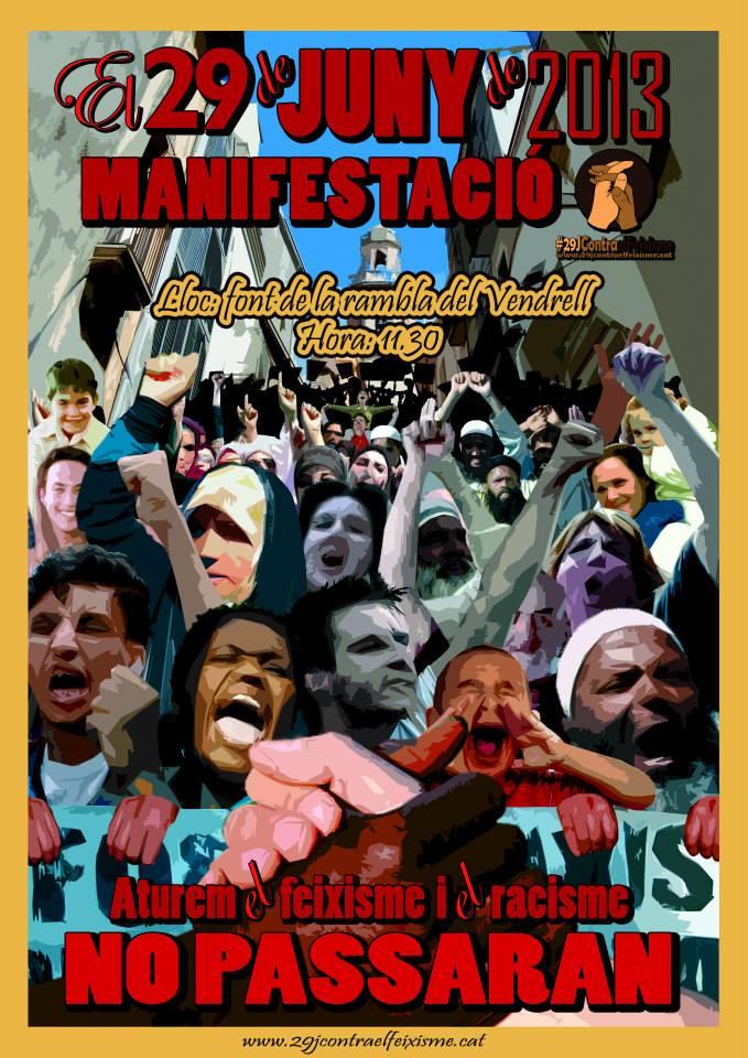 cartell manifestació 29 juny a El Vendrell contra el feixisme