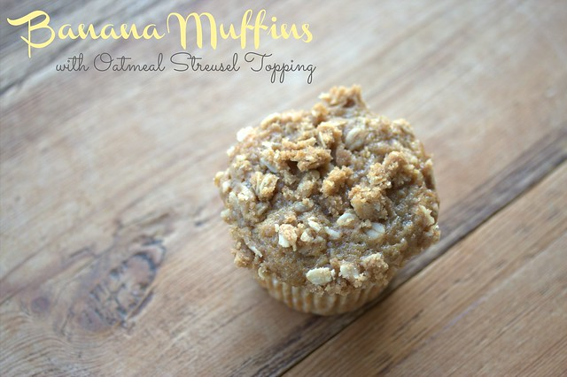 Banana Muffins with Oatmeal Streusel Topping