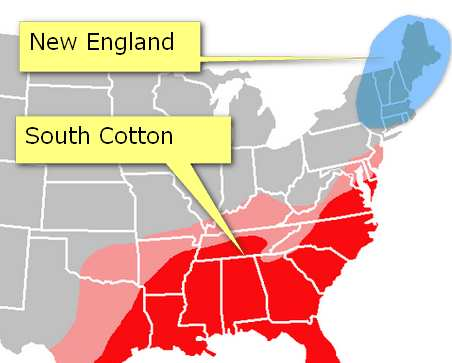 Map Cotton textile industry of USA