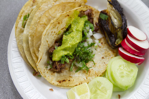 Suadero taco and lengua taco