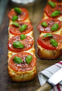 French Bread Pizza with Tomato, Mozzarella, Basil & Balsamic-Garlic Drizzle