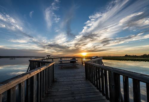 wood blue cloud lake canada reflection yellow reeds bench table wooden picnic platform deck alberta stalbert cirrus