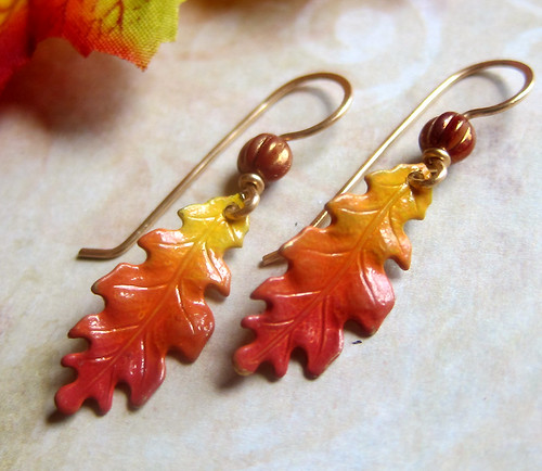 Vibrant Harvest - Hand Colored Leaf Earrings