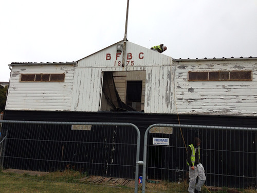 Broughty Ferry Boating Club in the early stages of demolition September 2013