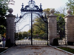 Wrought iron entrance gates to the Vanderbilt summer house at Newport Rhode Island called the Breakers.