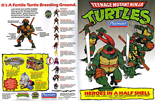 TEENAGE MUTANT NINJA TURTLES :: 'HEROES IN A HALF SHELL'  PLAYMATES TOYS 2009 NYCC / TMNT 25 RETRO PRINT ( 1987 Repro Sales Flyer } i (( 2009 ))