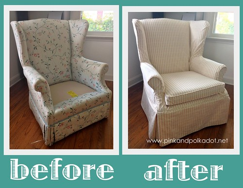 Striped wing chair slipcover