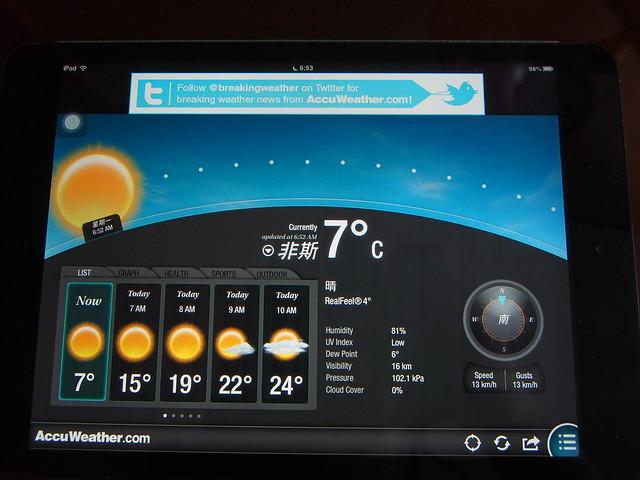 今日氣溫,攝氏7度