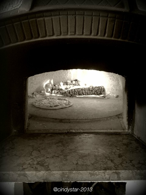 pizza in the wood oven