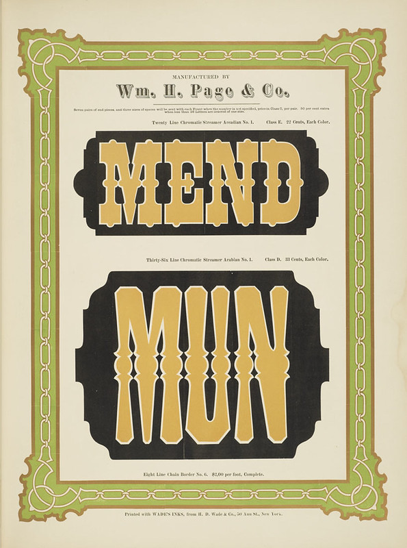 Specimens of chromatic wood type, borders 1874 - [via Columbia U] (Mend + Mun) Streamer Arcadian + Arabian type